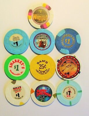 Various CASINOS - Throughout  NEVADA -  lot #2 --- 10 OBSOLETE  CASINO CHIPS