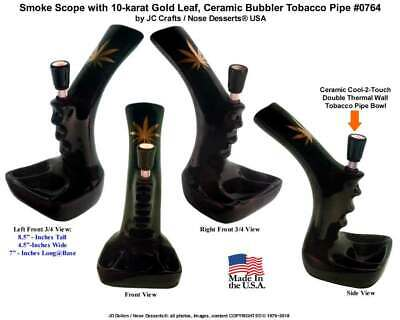 Smoke Scope Hookah Black Ceramic Glass Tobacco Pipe Gold Leaf #0764 Made In USA