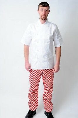 New Chef Elasticated Trousers In Black,Royal,Green And Red Check Colours