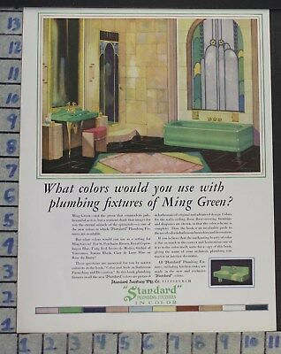 1929 Standard Modern Green Bath Room Tub Sink Home Decor Vintage Art Ad  Cg62