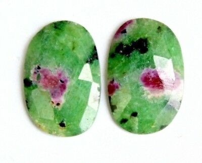 21.05cts Natural Ruby in Zoisite Faceted Cabochon Match Pair  Loose Gemstone