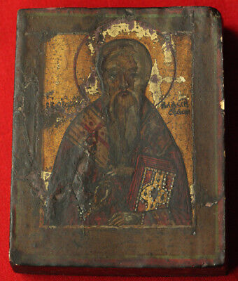 Antique Russian Orthodox Icon Saint Blaise Hand Painted egg tempera on wood