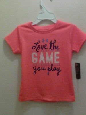 Nwt $18 Under Armour Tollder Girls Love The Game You Play Top Size 2T