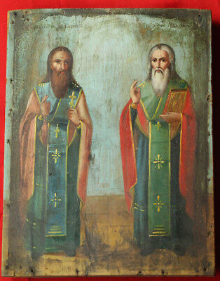 Antique Russian Orthodox Icon Saints Charalambos and Blaise Hand Painted on wood