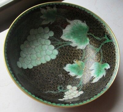 Antique 19th Century JAPANESE or CHINESE Cloisonne BOWL Grapes Vines BRASS