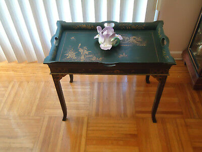 """Vintage Wood Hand painted Serving Tray or Table    24"""" x 14 1/2"""""""