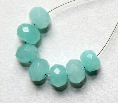 Natural Chalcedony Faceted Rondelle Beads 7pcs 8.50cts ( 6mm Each )