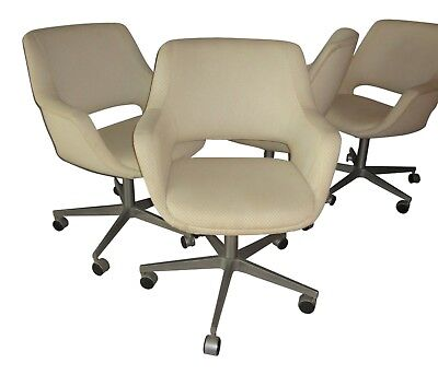 Set of 4 Swivel Lounge Chairs Finland ICF Eames Miller Aluminum Group MCM