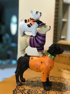 Halloween Doggies Stacked Dog Figurine Statue in Shirts and Witch Hat  NWT