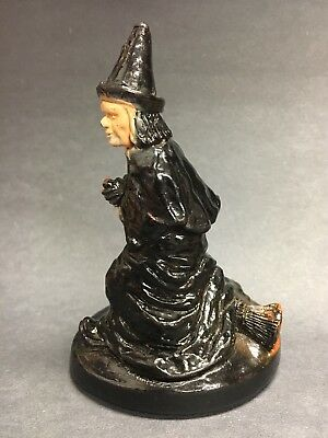 Vtg Standing Chalkware Plaster Halloween Witch Figurine With Broom Hand Painted