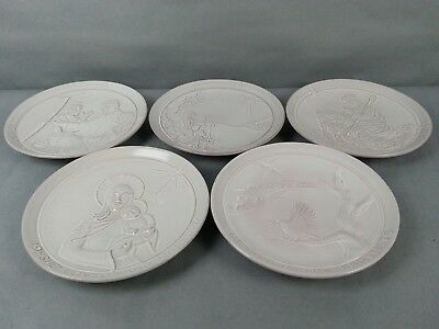 5pc Vintage Frankoma Frank Wall Hanging Plates Pottery Signed Christmas