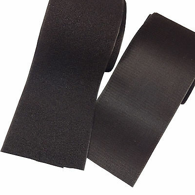 """6"""" Inch Wide x 1 FT (Foot) BLACK Sew on Hook & Loop Tape Set ~ FREE SHIPPING"""