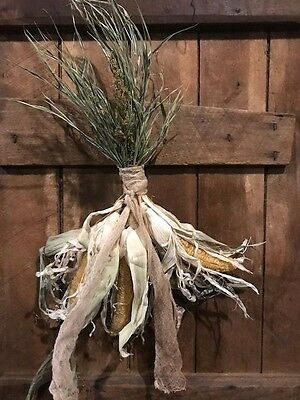 Primitive Dried Corn Fall Wreath Door Keep Early Look Cabin Farmhouse