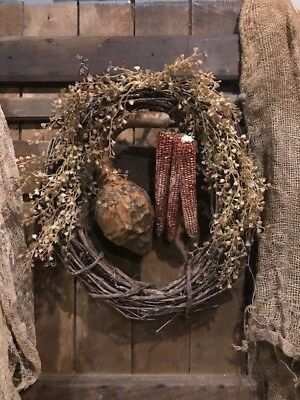Primitive Dried Gourd Corn Cobs Wreath Homestead Early Look Door Keep FALL