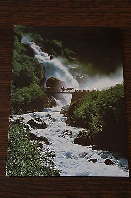 Horse-drawer carriage passing the Briksdalen falls - Norway Postcard