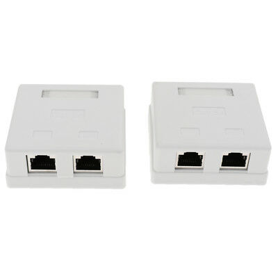3x 2 port Cat5e Cat 5e Network//Internet Cable Wall Surface Mount Compact Box