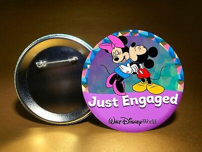 """JUST ENGAGED - w/ Mickey & Minnie - WDW or DL - 3"""" PIN BACK BUTTON - FREE SHIP!"""