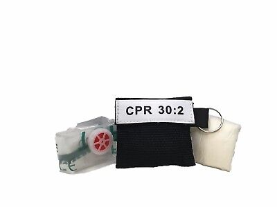 1 Extra Large Black CPR Keychain  Mask - Face Shield with heavy duty GLOVES