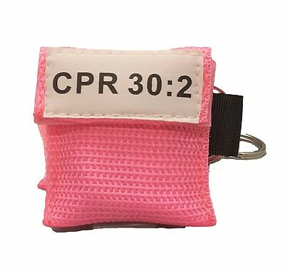 50 Pink CPR Face Shield Mask in Pocket Keychain imprinted CPR 30:2