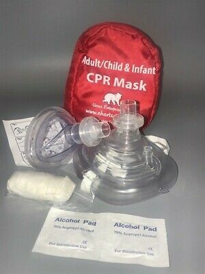 5 CPR mask Soft case w/Gloves - Adult Child and Separate Mask for Infants
