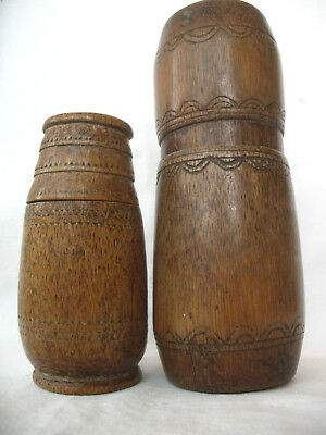 2 PC INDONESIAN TIMOR BAMBOO BETELNUT CONTAINER ARTIFACT  late  20th  C.