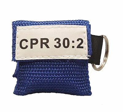 50 Blue CPR Mask Keychain Face Shield with GLOVES imprinted CPR 30:2