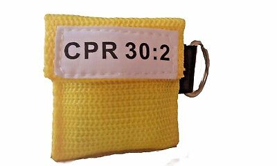 1 Yellow Face Shield CPR Mask in Pocket Keychain imprinted CPR 30:2