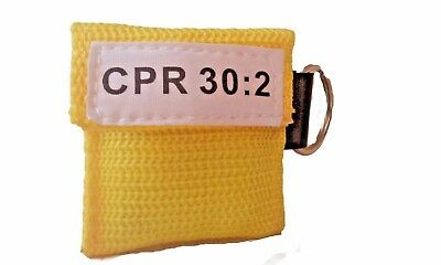 50 Yellow CPR Mask Keychain Face Shield Key Chain Pocket imprinted CPR 30:2