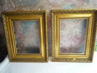 Vintage  Matching Pair Of  Gold Gilt Gesso Heavy Wood Picture Frames