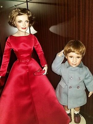 Franklin Mint Jackie Kennedy Porcelain Doll & Jfk Jr. Farewell To His Day Doll