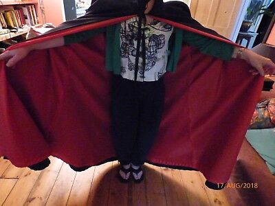men's full length black silky dress cape with red lining