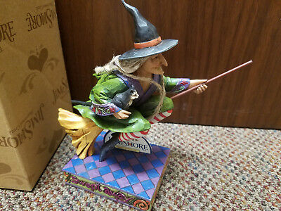 2006 Jim Shore Halloween SWEPT AWAY Witch on Broom with Cat Heartwood Creek