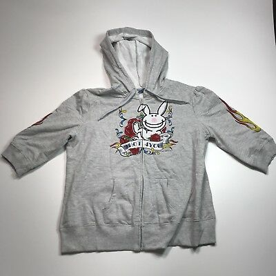 Jim Benton Rabbit Hoodie 2 Hot 4 You Junior Sz. XXL Happy Bunny Leigh #67