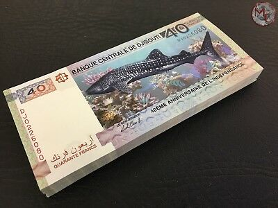Djibouti- 40 Francs- 2017- NEW- Commemorative- 100 PCS bundle UNC !!!