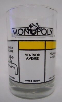 VINTAGE! 1985 Arby's Monopoly Collector Series Glass-Yellow Properties