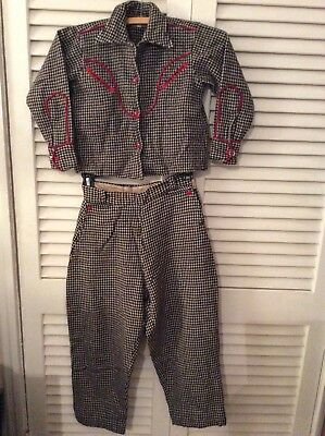 Weber Bros. ANTIQUE WOOL SUIT PANTS JACKET BOYS Size 8 Western, Checkered Design