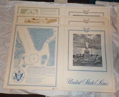 Vintage Lot of 6 SS United States Luxury Liner Unused Menu Covers from 1960