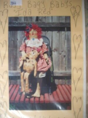 """Ida Red. 31"""" Tall Primitive Raggedy with Miss Kitty."""