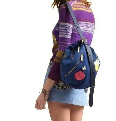 b4c45ba0cbbc MARC JACOBS THE Sling Blue Canvas Embellished Bucket Bag NWT  395 ...