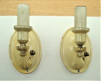 Vintage Pair Brass Art Deco Wall Sconces Lights Lamps Electric Candle Style