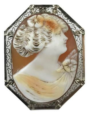 Antique 19thC Victorian 14K White Gold Carved Cameo Pin Brooch Jewelry Pendant