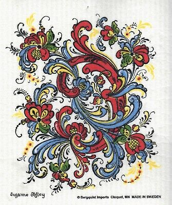 Dish Cloth, Rosemaling - Swedish Design