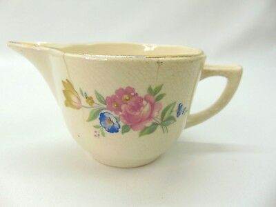 Vintage Antique Creamer Cup with Pink Roses Home Decor Decorative Gold Edge