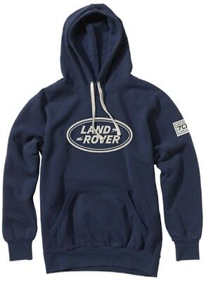 Official Land Rover Merchandise 70th Jubilee Hooded Sweatshirt Navy