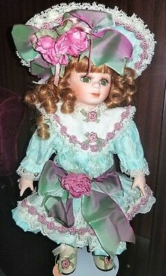Beautiful Red Head Franklin Mint Porcelain Doll Ready For High Noon Tea