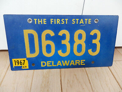 Delaware 1967 # D6383 Vintage License Plate With Riveted Numbers Expired