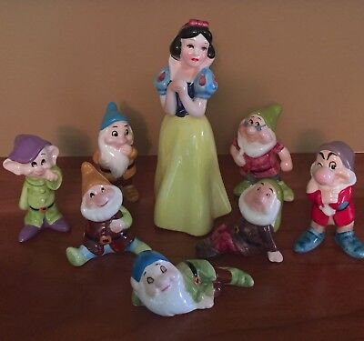 Vintage Snow White and the Seven Dwarfs Disney Figurine Set