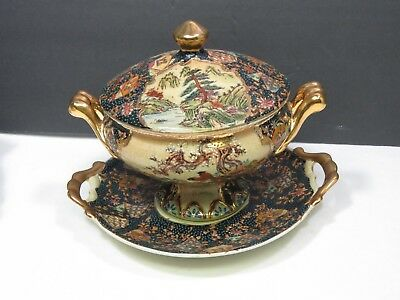 Royal Satsuma Covered Handled Tureen and Underplate Birds Trees