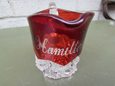 "Hamilton Ontario Canada Ruby Flash Vintage Souvenir Mug Cup Glass 2 3/4 "" Tall"