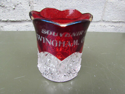 "Wingham Ontario Canada Ruby Flash Vintage Souvenir Toothpick Holder 2"" High"